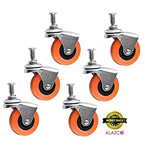 "6 Heavy-Duty 2.5"" Swivel Caster Wheel for Creeper Service Cart Stool Post Mount By ALAZCO"