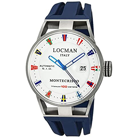 - 51o6G 18O1L - Locman Italy Men's Montecristo Yacht Club AU Stainless Steel Automatic-self-Wind Diving Watch with Rubber Strap, Blue, 26 (Model: 051100WHFLAGGOB)