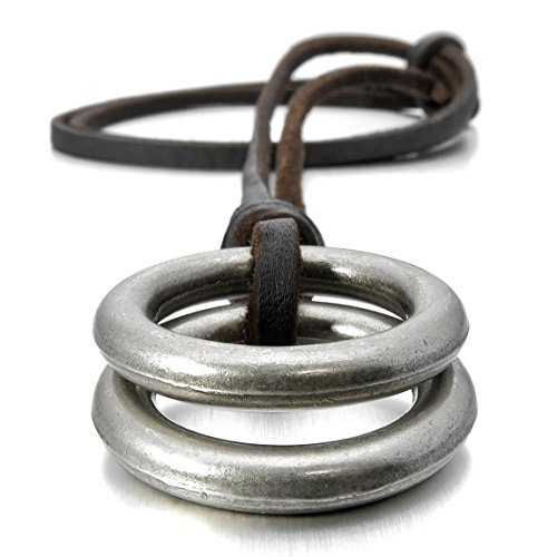 INBLUE Mens Alloy Genuine Leather Pendant Necklace Silver Tone Double Ring Adjustable 16~26 Inch Chain