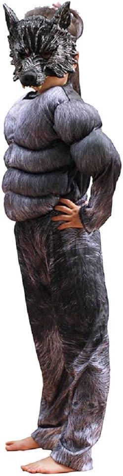 Taglia M Werewolf Maschera Bimbo Travestimento Busto Muscoloso Costume Lupo Mannaro Bambino Supereroe 6-7 anni Carnevale Accessori Cosplay Licantropo Halloween