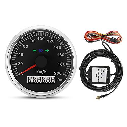 Estink- GPS Speedometer, 85mm 200 km/h 12V/24V Digital Universal Waterproof Motorbike Trucks Boats GPS Odometer Meter Gauge with Backlight