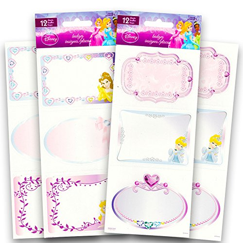 Disney Princess Name Tag Stickers Value Set for Kids -- Pack of 72 Name Badge Labels (Classroom Party Pack) (Disney Princess) 72 Tag
