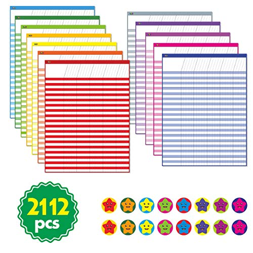 12 Pack Multi-Color Laminated Dry Rease Incentive Chart/Chore/Responsibility/School Attendance/Homework Progress Tracking Chart with 2112 Reward Star Stickers, (17