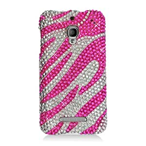 Plastic Pink Silver Zebra Diamond Bling Hard Cover Snap On Case For Alcatel One Touch Fierce (Accessorys4Less)