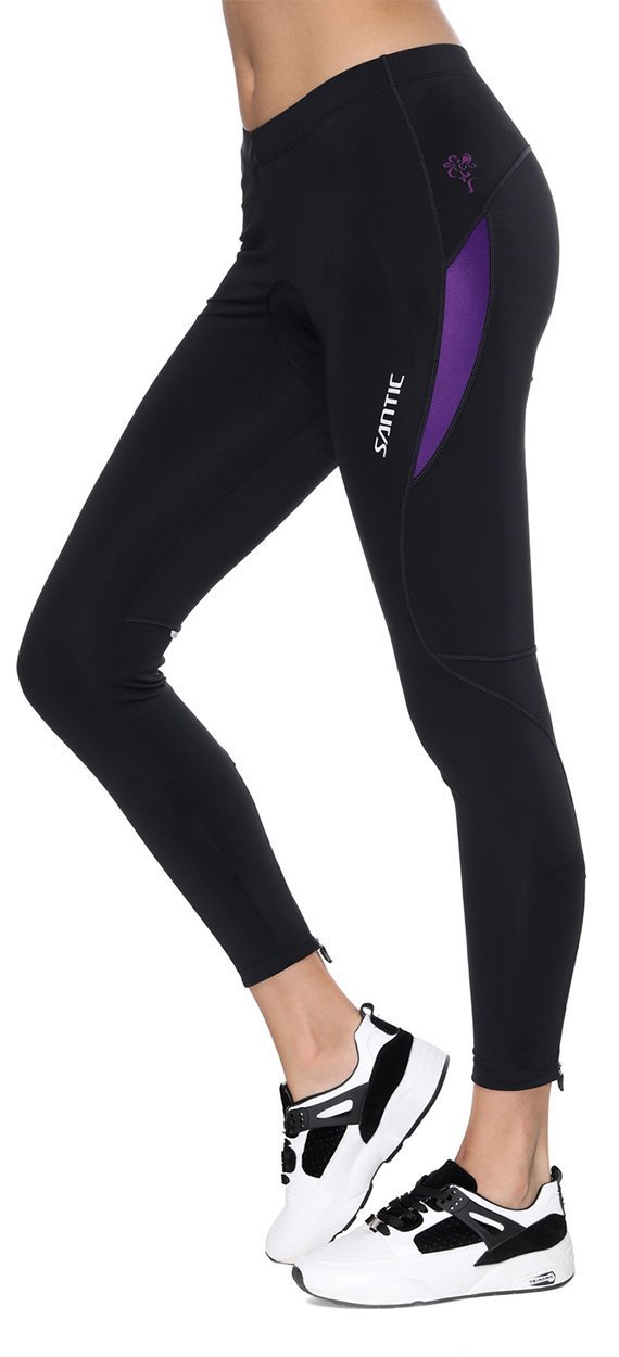 Santic Women's Cycling Bicycle Pants Long Bike Tights Padded MTB 4D Cooldmax Breathable