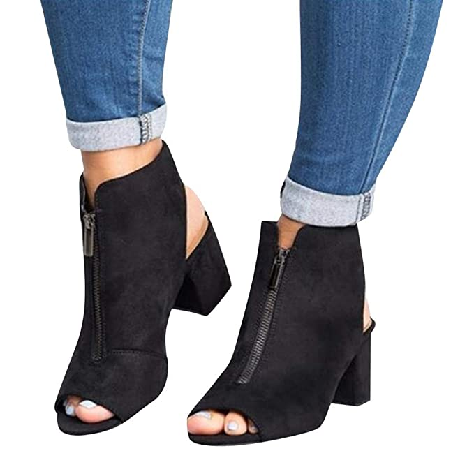 c45afaeaec8 Womens Open Toe Cut Out Sandals Chunky Stacked Low Heel Ankle Strap Booties  Peep Toe Platform