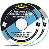 Windows 8.1 Compatible Repair & Reinstall Disc Set: Recovery Reboot Restore Fix Factory Reset - Basic or Professional 32 & 64 Bit PC Computer + Drivers Install 2019 (2 DVD Set): more info