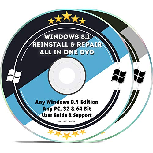 Windows 8.1 Repair & Reinstall Disc Set: Recovery Reboot Restore Fix Factory Reset - Basic or Professional 32 & 64 Bit PC Computer + Drivers Install 2019 (2 DVD - Recovery Toshiba 8 Windows Disk