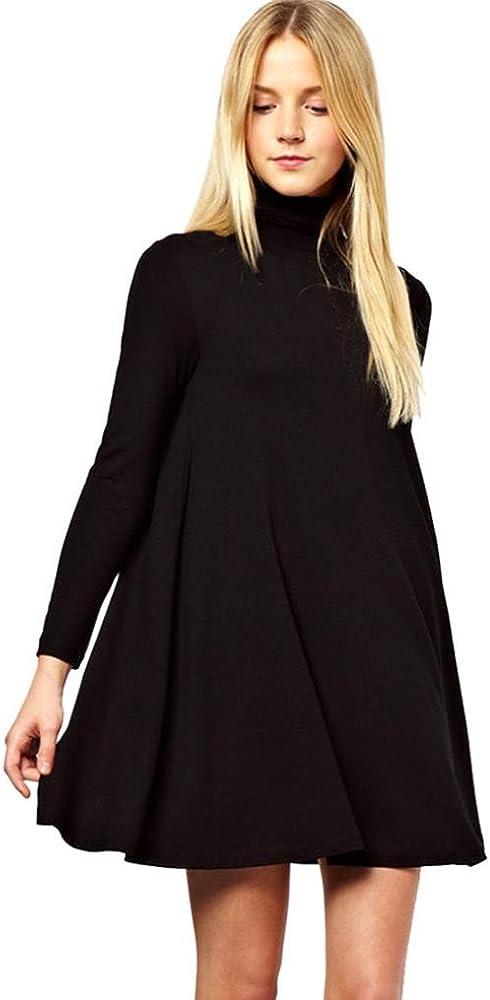 Siswong Suelto Color Sólido Vestidos Algodon Cortos Cuello Alto Mujer de Manga Larga Invierno (Negro, L): Amazon.es: Ropa y accesorios