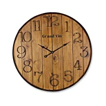 """Young's 16958 Wooden Barrel Wall Clock with Hands, 24"""" x 2"""" x 24"""""""