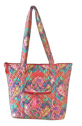 Vera Bradley Villager with Solid Interiors (Paisley in Paradise with Red - Bradley Vera Villager Tote