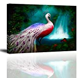 """Peacock Wall Art Decor for Bedroom, Gorgeous Elegant Animals Oil Painting Canvas Prints of White Noble Peafowl in Rain Forest (Vibrant & Waterproof, 1"""" Thick Frame, Bracket Mounted Ready to Hang)"""
