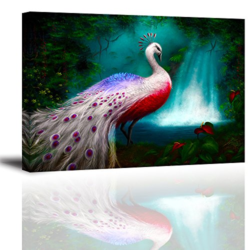 Pictures Animal Rainforest (Peacock Wall Art Decor for Bedroom, Gorgeous Elegant Animals Oil Painting Canvas Prints of White Noble Peafowl in Rain Forest (Vibrant & Waterproof, 1