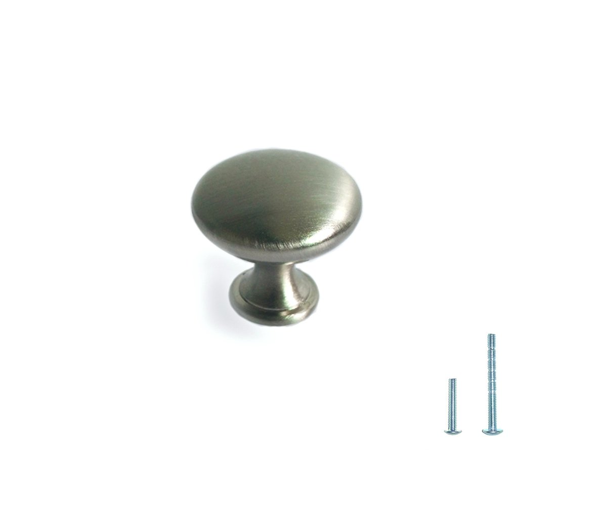 "1 1/8"" Round Button Mushroom Brushed Satin Nickel Cabinet Drawer Single Hole Pull Knob with Flexi Screw System (Pack of 10) by Zuhne"