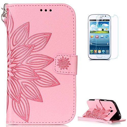 Samsung Galaxy Grand Neo Plus Leather Wallet Case  With Free Screen Protector  Kasehom Mandala Lotus Flower Embossed Folio Magnetic Flip Stand Pu Leather Protective Case Cover Skin Shell Pink  2
