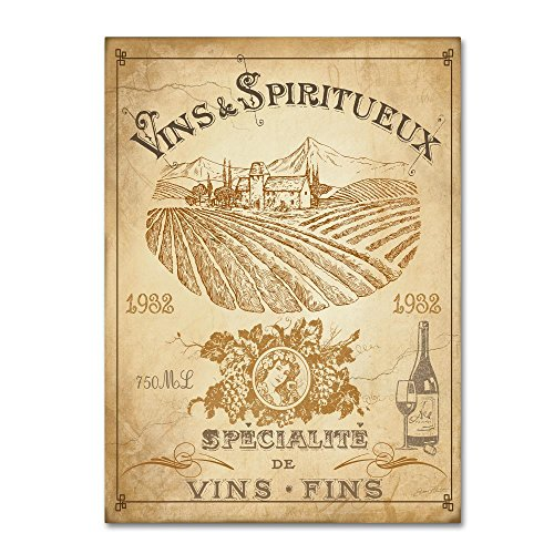 Vintage French Wine Label by Jean Plout, 35x47-Inch Canvas Wall Art