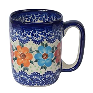 Boleslawiec Style, Traditional Polish Pottery, Handcrafted Ceramic Tall Square Mug (275ml), Pattern, Q.401.BLUELACE