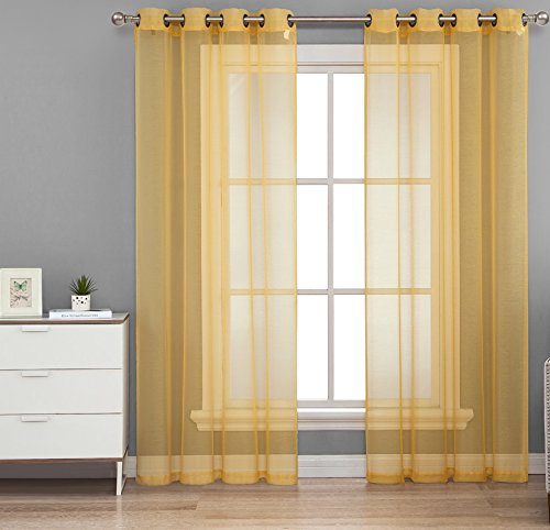 hlcme-2-piece-sheer-window-curtain-grommet-panels-bright-yellow-95-inch-long