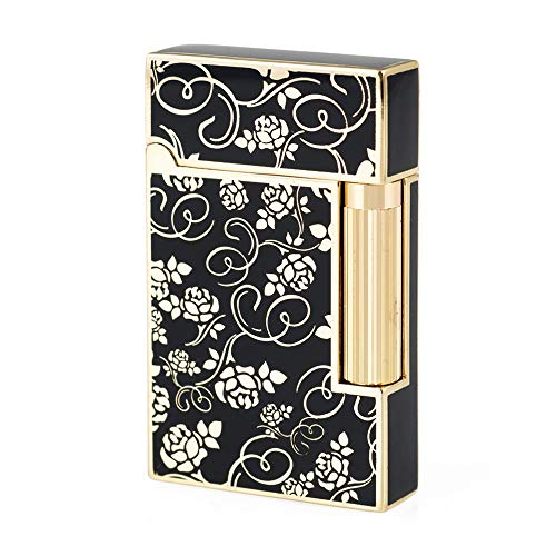 Gold Roses Flint Wheel Cigarette Butane Gas Metal Lighter
