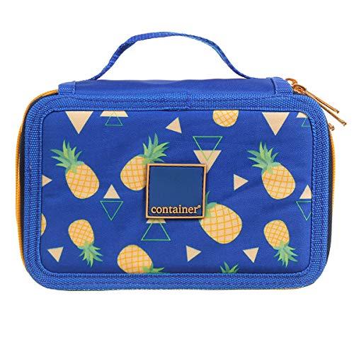 Dermiwil Estojo Soft 4 Divisões c/ Alça de Mão Container Fashion  Abacaxi, Azul Estampado