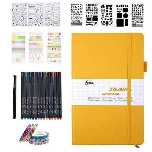 Bullet Dotted Journal Kit,Feela A5 Dotted Bullet Grid Journal Set with a 224 Pages Yellow Notebook,Fineliner Pens,Reusable Stencils,Sticker Sheet,Washi Tape,Black BallPen for Diary,Schedule Plan,Draw