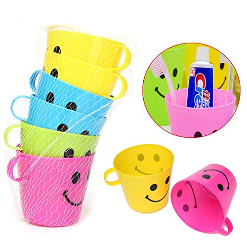 Bathroom Storage & Organisation - 6pcs Plastic Colorful Smiling Facetooth Cups Handle Mouth Rinsing Glasses - Toilet Brh Holder Panda Toothbrh - Plastic Cups - Songs Cinco Mayo De