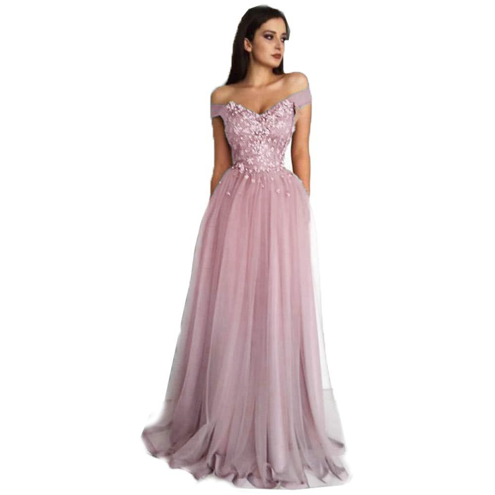 bluesh Lnxianee Women's Off Shoulder Prom Dresses Long Applique Formal Evening Party Gowns