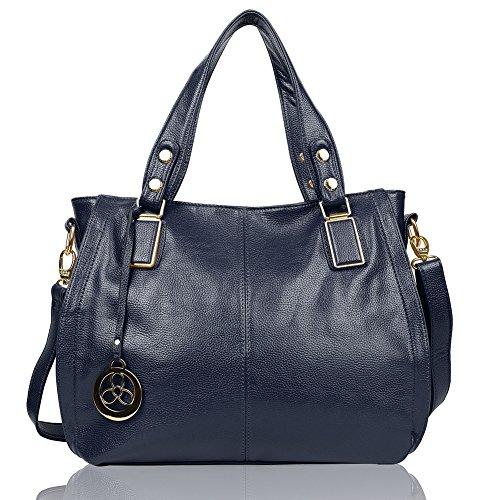 EGOGO Damen Shopper Handtasche Leder Henkeltasche Für Fraun Schultertasche Reisen Arbeit und Einkäufe E522-6 (Blau) Blau