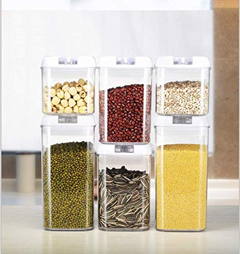 6 Piece Food Storage Containers-Kitchen Storage Set for Pantry Organization and Storage, BPA FREE Durable Plastic Storage Containers used for pasta, flour, cereal Container! Air Tight!