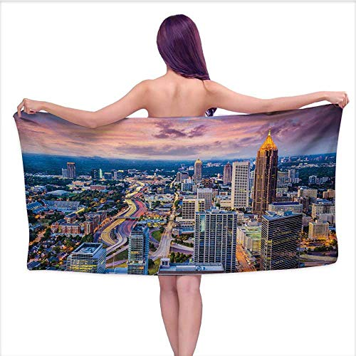 Onefzc Travel Bath Towel Modern Atlanta City Skyline at Sunset with Hazy Syk Georgia Town American View Super Soft Highly Absorbent W40 x L20 Baby Pink Blue - Atlanta Roll Holder Paper