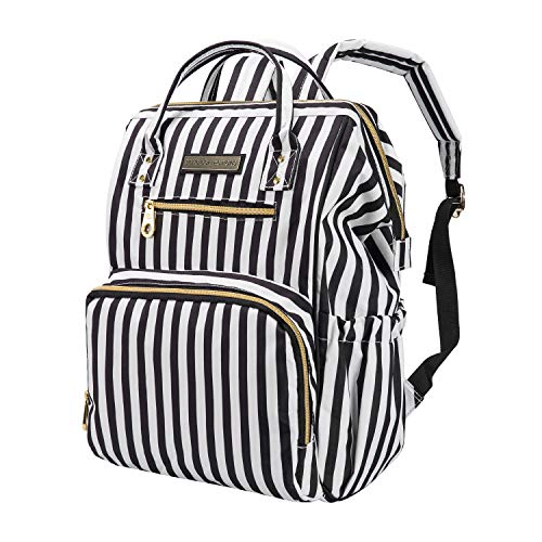 SoHo Diaper Bag Backpack Wide Opening 6 Pieces Nappy Tote Bag for Baby mom dad Stylish Insulated Unisex Multifunction Large Capacity Waterproof Durable Includes Changing pad Stroller Straps Stripe
