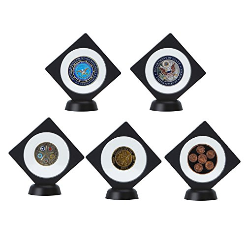 "5-pack Challenge Coin Gemstones 3D Display Stand Box (3.5 x 3.5"", Black), Medallion Coin Gemstone Jewelry Specimen Show Case, Double Sided Floating Display Frame"