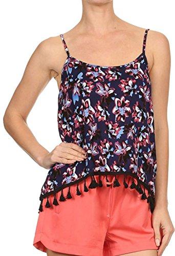 Casual Women's Sexy Sleeveless Printed Loose Tassel Tank Vest, NVY/BLU/PNK, - Cheap Growlers