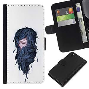 NEECELL GIFT forCITY // Billetera de cuero Caso Cubierta de protección Carcasa / Leather Wallet Case for Sony Xperia Z3 D6603 // Mujer en plumas - Pop Art