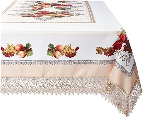 Violet Linen Decorative Printed Fruttela Tablecloth With Lace Trimming, Ivory, 70