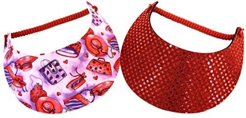 (Florida Hat Company Coil Foam Visor 2 Pack 1 Red Sequin & 1 Red Hat and Purse Prints Red Hat Ladies)