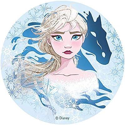 Dekora-114384 Decoracion Tartas de Cumpleaños Infantiles en Disco de Oblea de Frozen II-Elsa y Nokk-20 cm Diametro (114384)