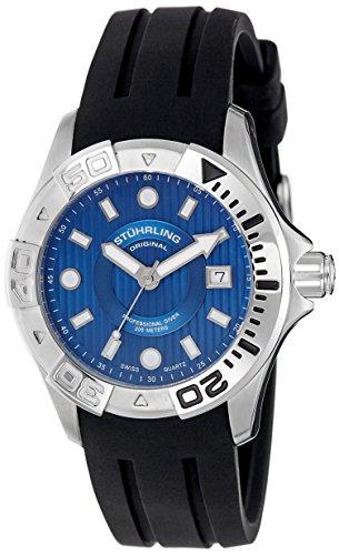 Stuhrling Original Men's 718.03 Aquadiver Manta Ray Swiss Quartz Date Professional Diver Blue Dial Watch