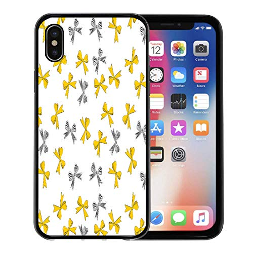 (Emvency Phone Case for Apple iPhone Xs Case/iPhone X Case,Pink Graphic Yellow and Striped Bows Pattern Cute Girly Soft Rubber Border Decorative, Black)