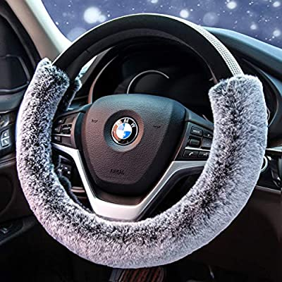 Didida Winter Warm Faux Wool and Bling Diamond Fluffy Fashion Steering Wheel Covers for Women/Girls/Ladies 15 Inch,Grey: Automotive