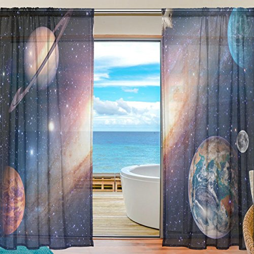 SEULIFE Window Sheer Curtain, Universe Galaxy Outer Space Voile Curtain Drapes for Door Kitchen Living Room Bedroom 55x78 inches 2 Panels by SEULIFE