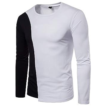 36c90db4f SOMESUN Noir Blanc Tee-Shirt à Manches Longues en Coton T-Shirt pour ...