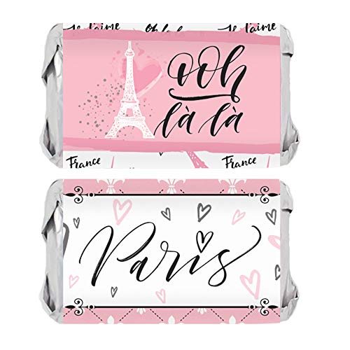 Paris Party Favor Miniatures Candy Bar Wrapper Stickers | 45 Count