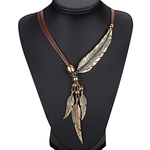 Sunsee Alloy Feather Antique Vintage Time Necklace Sweater Chain Pendant Jewelry (Brown) ()