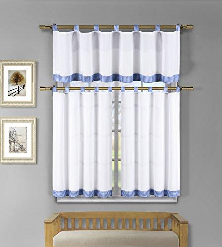 3 Piece White Kitchen Window Curtain Set: Check Design, 1 Valance, 2 Tiers (Blue) - Cape Cod Window