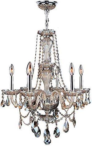 Worldwide Lighting Provence Collection 6 Light Chrome Finish and Golden Teak Crystal Chandelier 23 D x 31 H Medium