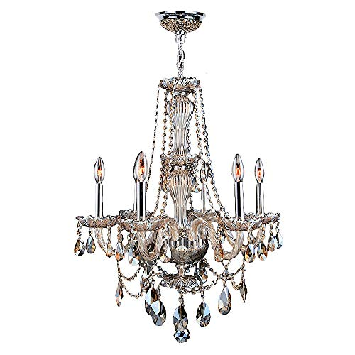 (Worldwide Lighting Provence Collection 6 Light Chrome Finish and Golden Teak Crystal Chandelier 23