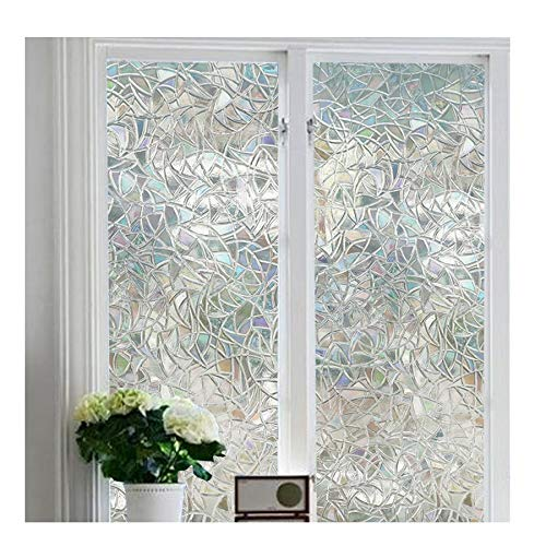 Window Film 3D Decorative No Glue, Reflective Window Decor Glass Door Film Privacy Protection Heat Control Anti UV,Stained Glass Static Cling for Kitchen Bedroom(17.7x78.7)