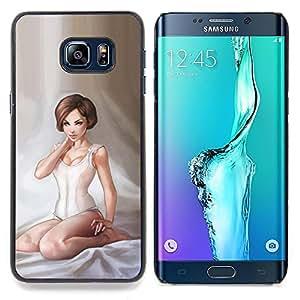 Jordan Colourful Shop - Girl Angel White Lingerie Art Painting Woman For Samsung Galaxy S6 Edge Plus - < Personalizado negro cubierta de la caja de pl??stico > -
