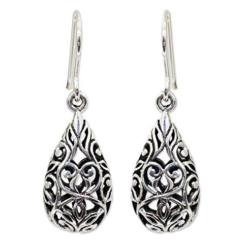 NOVICA .925 Sterling Silver Lacy Teardrop Dangle Earrings, Forest ()